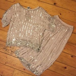 Vintage Swee Lo 100% Silk Sequin And Beaded Outfit